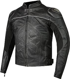 Titanium Motorcycle Leather Jacket Cowhide Street Cruiser Armor Riding Black L