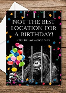 JAILMATE CARDS - 'Prison Location' Birthday Cards For Prisoners 5.83''x 8.27'' With Plain White Envelope. Greeting Card Fo...