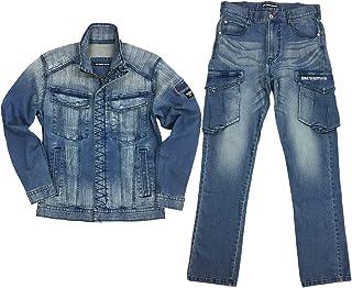 [ブルーモンスタークロージング] BMC ワーカジ上下セット ジャケット カーゴパンツ デニム ストレッチ 作業服 ワーク メンズ