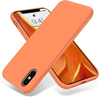OTOFLY Liquid Silicone Gel Rubber Full Body Protection Shockproof Case for iPhone Xs/iPhone X,Anti-Scratch&Fingerprint Basic-Cases,Compatible with iPhone X/iPhone Xs 5.8 inch (2018), (Papaya)