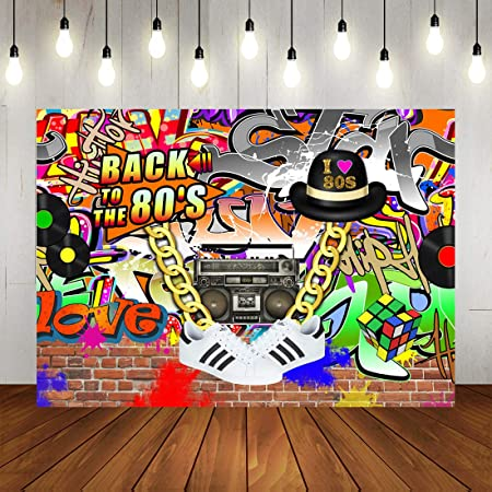 GoHeBe Hip Pop 80s Backdrop Graffiti Wall Theme Photo Backdrops 7x5ft Back to The 80s Background for Birthday Party Studio Props
