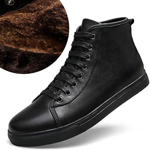 Qiusa Bottines à à Talon compensé en Caoutchouc pour Homme (Couleuré   Fur Lined noir, Taille   9.5 UK)  présentant toutes les dernières mode de la rue haute