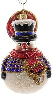 Christopher Radko Jolly All A-Round Snowman Christmas Ornament, White, Blue, Black