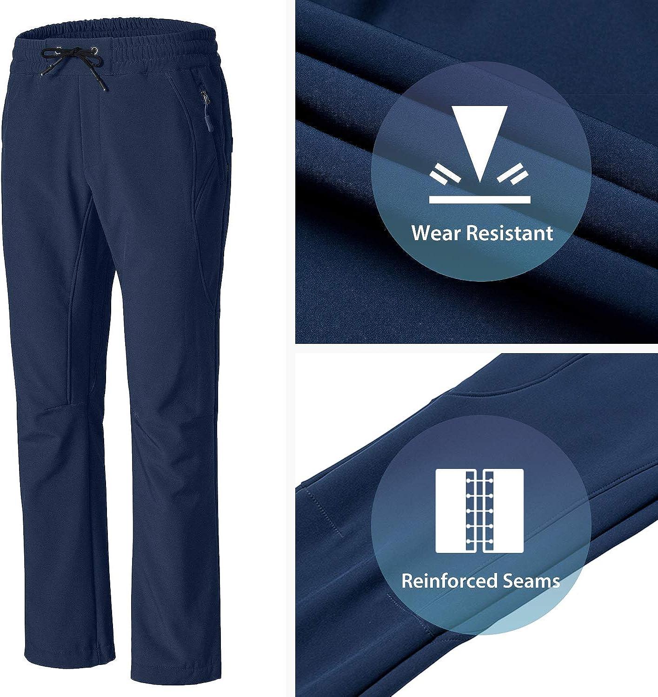 Wantdo Womens Waterproof Ski Pants Fleece Lined Snow Pants Windproof Softshell Pants