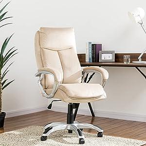 Glitzhome Modern Ergonomic High Back Office Desk Chair Adjustable Swivel Velvet Executive Office Chair with Armrest Computer Desk Chair with Lumbar Support Task Chair,Beige