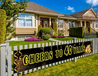Large Happy 40th Birthday Party Banner, 40th Birthday Party Supplies Decorations, 40th Birthday Sign, Cheers to 40 Years (9.8 x 1.5 feet)