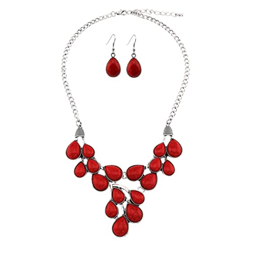 Jewelry & Watches Honest Red Coral Oval Gem Silver Plated Designer Necklace Earring Set Jewelry