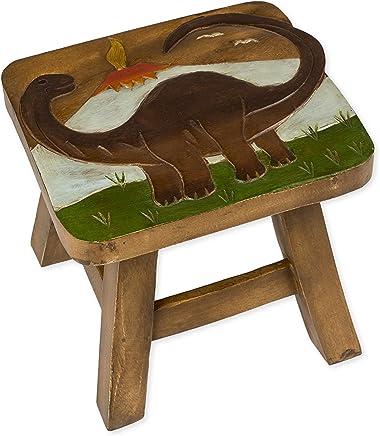 Brontosaurus Dinosaur Design Hand Carved Acacia Hardwood Decorative Short Stool