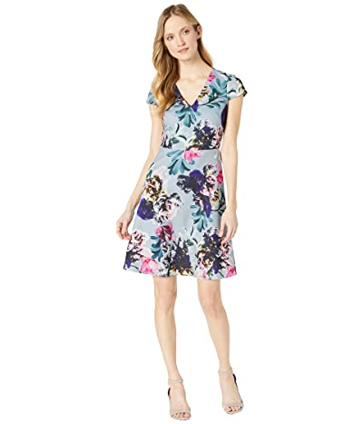 Adrianna Papell Mystic Floral Fit and Flare Dress (Blue Multi) Women