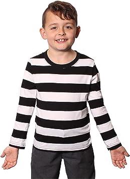 I LOVE FANCY DRESS LTD Camisa Rayada Negra Y Blanca con Mangas LONGAS para NIÑOS(S)