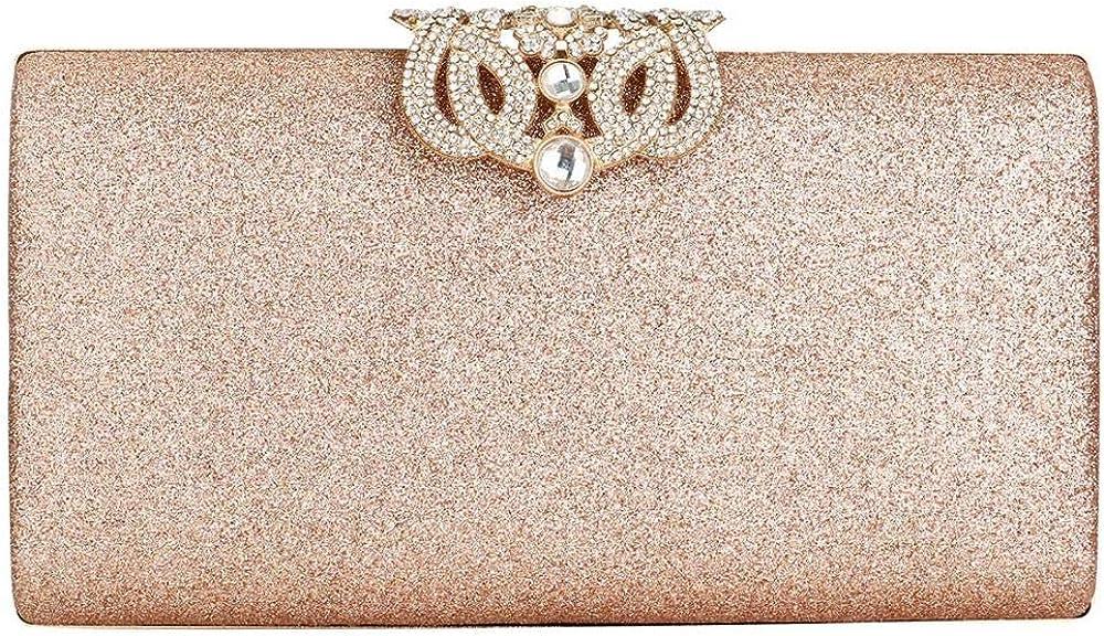 Women Evening Clutch Bag Leather Sparkling Designer Handbag Purse for Wedding Party