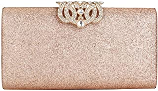 EROUGE Leather Sparkling Evening Clutch Purse Women Designer Handbag for Wedding Party