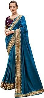 teal Plain body designer Border fancy Silk Saree Indian Woman Blouse party festival Sari 6563