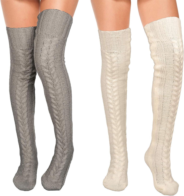 Whaline Thigh High Mohair Socks White Gray Knitted Socks Over The Knee Socks 2 Pack High Boot Thigh Women Socks High Boot Stocking for Cosplay Daily Wear