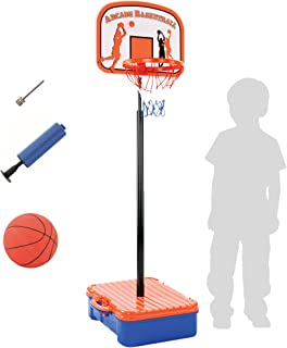 Bundaloo Basketball Hoop Game with Carry Case - Portable Indoor or Outdoor Toys for Little and Big Boys - Backboard and Rim on Adjustable Pole - Includes Ball, Air Pump, Pin - Ages 5-Year-Old and Up