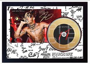 SGH Services New xxxtentacion Jahseh Onfroy Rap Music Mini Gold Vinyl CD Record firmado enmarcado Foto