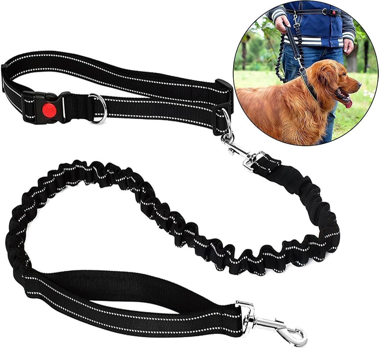 Fashion&cool Retractable Hands Free Dog Leash with Durable Adjustable Ergonomic Waist Belt,Perfect for Training Walking Jogging Hiking Running Biking (Black)