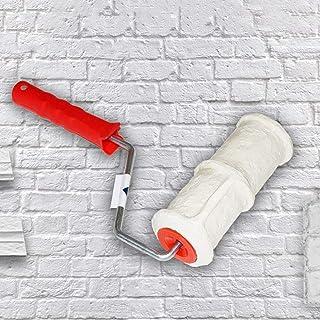 Marco de rodillo de pintura, 8 pulgadas, patrón de ladrillo de imitación, cilindro de grabado en relieve con mango de goma, pinceles de rodillo de pintura para pared para decoración de pared, blanco