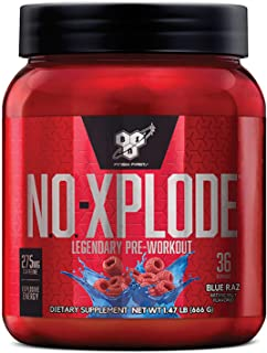 BSN N.O.-XPLODE Pre-Workout Igniter with Caffeine, Nitric Oxide &, Blue Raz - 20 More Free, Packaging May Vary