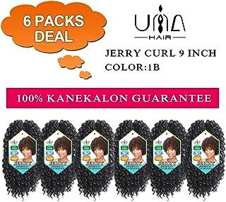 UNA 9 Inch Marlybob Crochet Hair Short Jerry Curl Crochet Hair Kinky Curly Braiding Hair Ombre Synthetic Braiding Hair Extension (9inch,6Pcs, 1B)