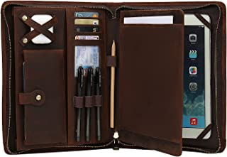 Sponsored Ad - ZHYOL Leather Portfolio for iPad Pro 11 2021 3rd/2nd/1st Generation with Pencil Holder, Genuine Leather Bus...