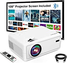 """Mini Projector, GROVIEW Outdoor Movie Projector with 100"""" Projector Screen, 1080P HD Supported Portable Projector, Compati..."""