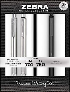 Zebra Pen G-750 Retractable Gel Pen, F-701 and M-701 Retractable Pen/Pencil Gift Set, Premium Metal Barrel, Medium/Fine Po...