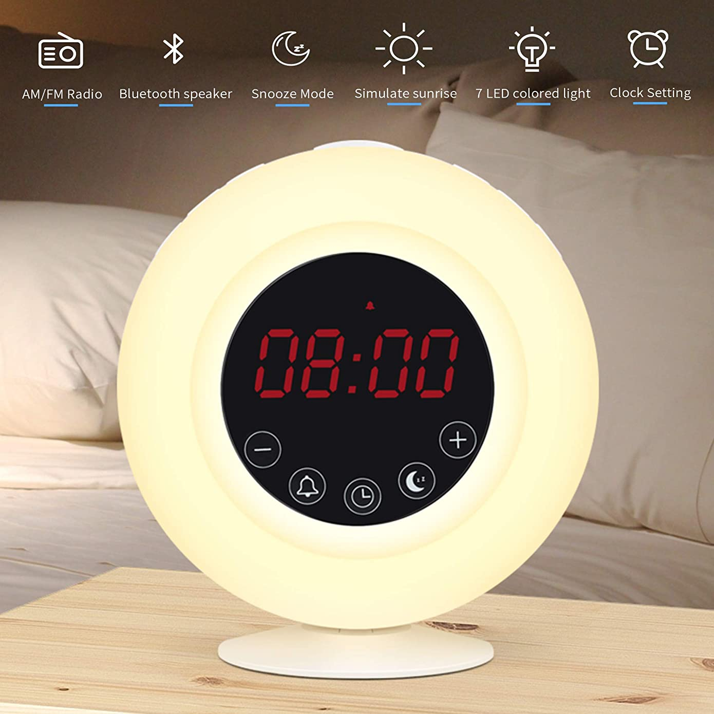 Sunrise Alarm Clock Radio for Kids, AM/FM, Wireless Bluetooth Speaker, Snooze, 7 Color Lights, Digital Touch Control, 3 Levels LED Screen Brightness and 10 Levels Brightness in Warm White Light