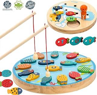 TEPSMIGO Magnetic Alphabet Letter Wooden Fishing Game for Toddler Boys Girls Age 3+