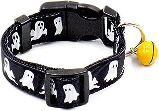 Stock Show Halloween Ghost Collar para mascotas Festival de moda Perros Gatos Collar con pequeños cinturones de seguridad de calabaza Cinturones de seguridad Tela de nylon, Negro