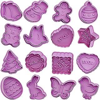 BETOY Tagliabiscotti Pasqua, Set di 16 Formine per Biscotti stampini per Biscotti Tagliapasta per Biscotti Bakeware Fonden...