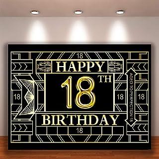 Crefelicid Fotohintergrund zum 18. Geburtstag, 18 x 150 cm, Gatsby, Goden und Schwarz, für Erwachsene, Herren, für Party Dekorationen