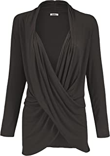2LUV Women's Long Sleeve Criss Cross Drape Front Top