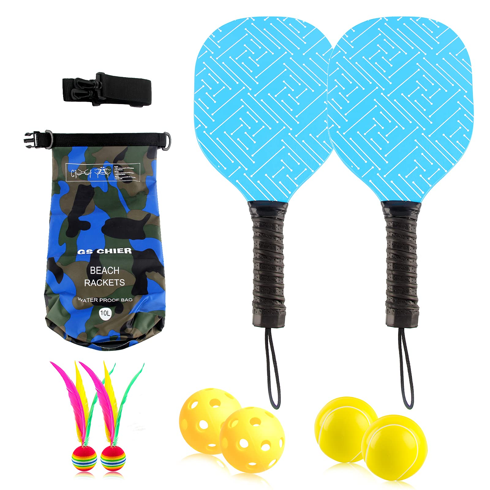 GS CHIER Pickleball Beach Paddle Ball Game Kits for Ki -4TYQ
