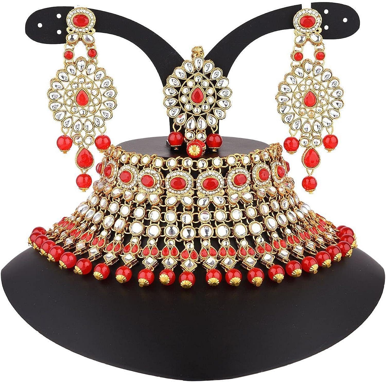 Efulgenz Indian Jewelry Choker Kundan Crystal Faux Pearl Necklace Earrings Maang Tikka Head Chain Bollywood Wedding Bridal Set
