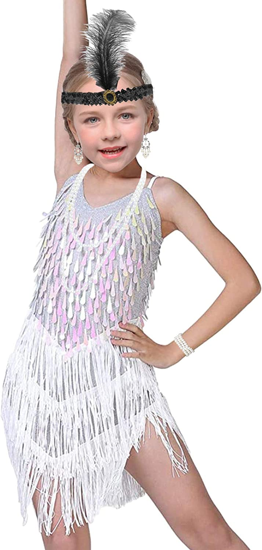 Girls Vintage Tassel Fringed Gatsby 1920s Cocktail Dance Dress