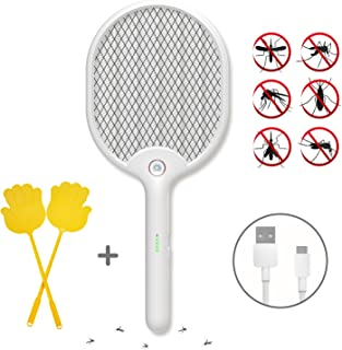 X Home Electric Fly Swatter Racket, Handheld Bug Zapper USB Fast Rechargeable, LED Lighting Mosquito Killer for Outdoor and Indoor, Travel Camping, 3-Layers Safety Mesh Protection Pest Control