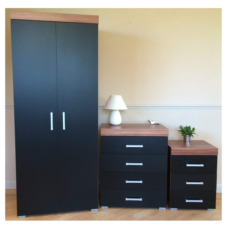 DRP Trading Black & Walnut Bedroom Furniture Set - Wardrobe, 8 Drawer Chest  & 8 Draw Bedside Cabinet