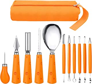 Halloween Pumpkin Carving Kit, 11Pcs Professional and Heavy Duty Stainless Steel Carving Tools for DIY Jack-O-Lanterns, Pu...