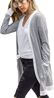 LUKYCILD Women Open Front Striped Print Cardigan Top with Pocket Lightweight Top