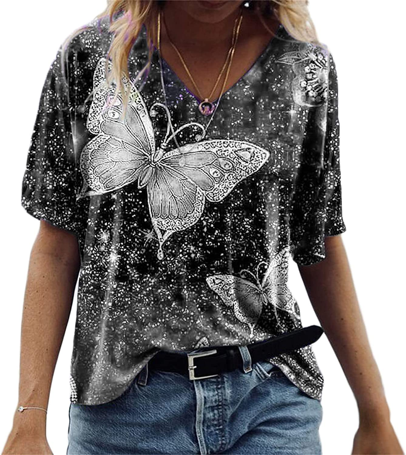 Andongnywell Women's Casual Five-Point Sleeve Butterfly Print top T Shirts Tunics Tops Blouses Tunics