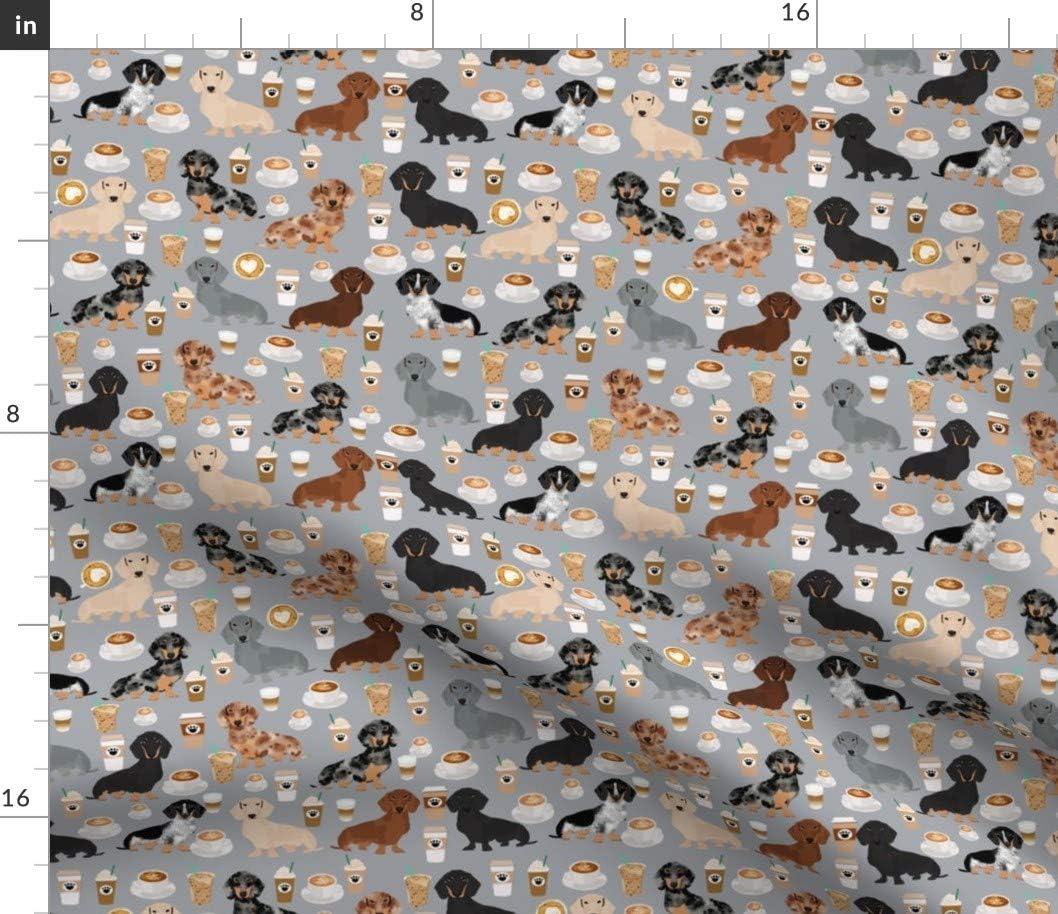 Max 73% OFF Spoonflower Fabric Super intense SALE - Dachshund Coffee Dogs Grey Latt Coffees Dog