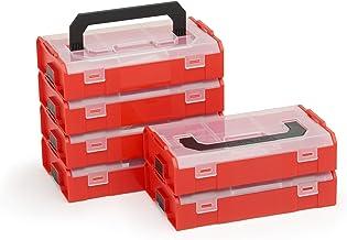 Bosch Sortimo L Boxx Mini | Juego de 6 en Rojo Transparente | Caja de Almacenaje Tornillos con Tapa | Tornillos Clasificación