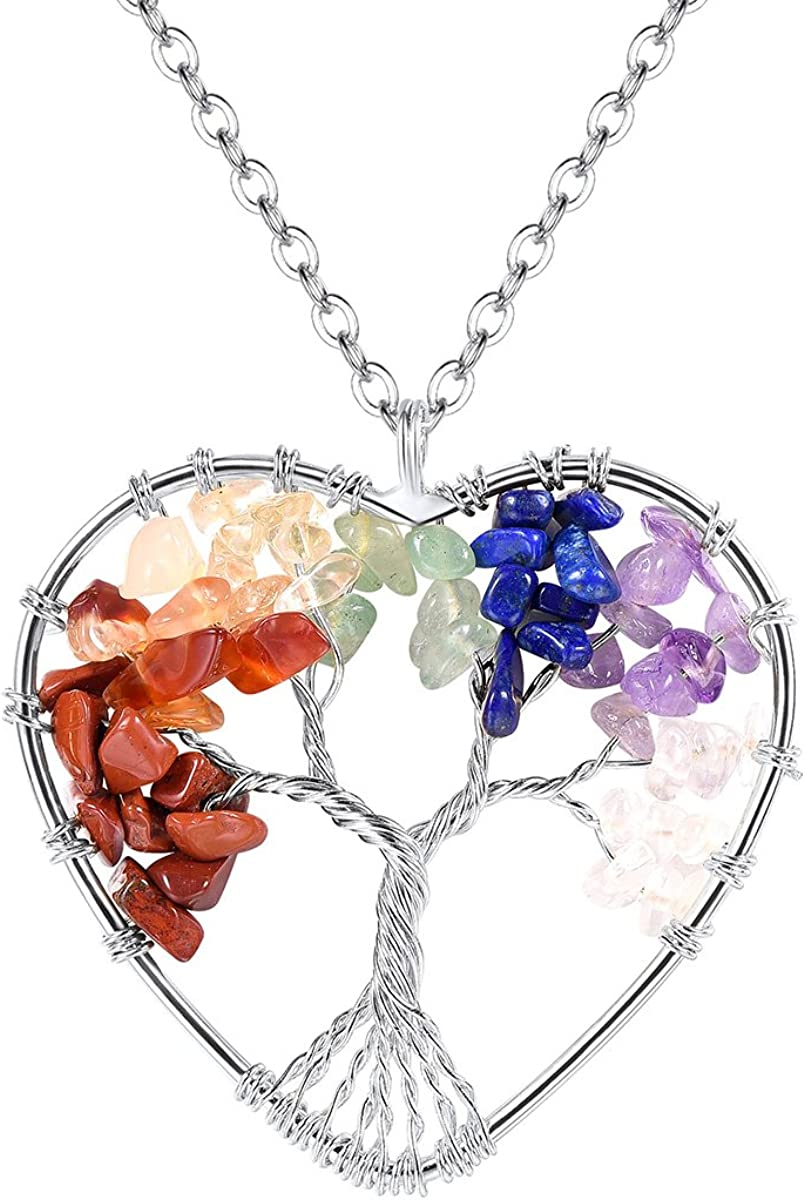 FOCALOOK Colorful Crystal Pendant Necklaces for Women Fashion 18k Gold Plated Stainless Steel Tree of Life Necklace
