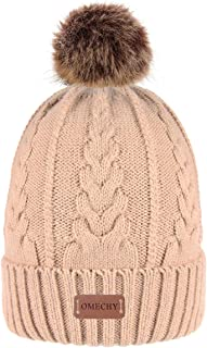 Bodvera Women's Ponytail Messy Bun Cotton Beanie Winter Warm Stretch Cable Hat Thick Knit Cuff Skull Cap