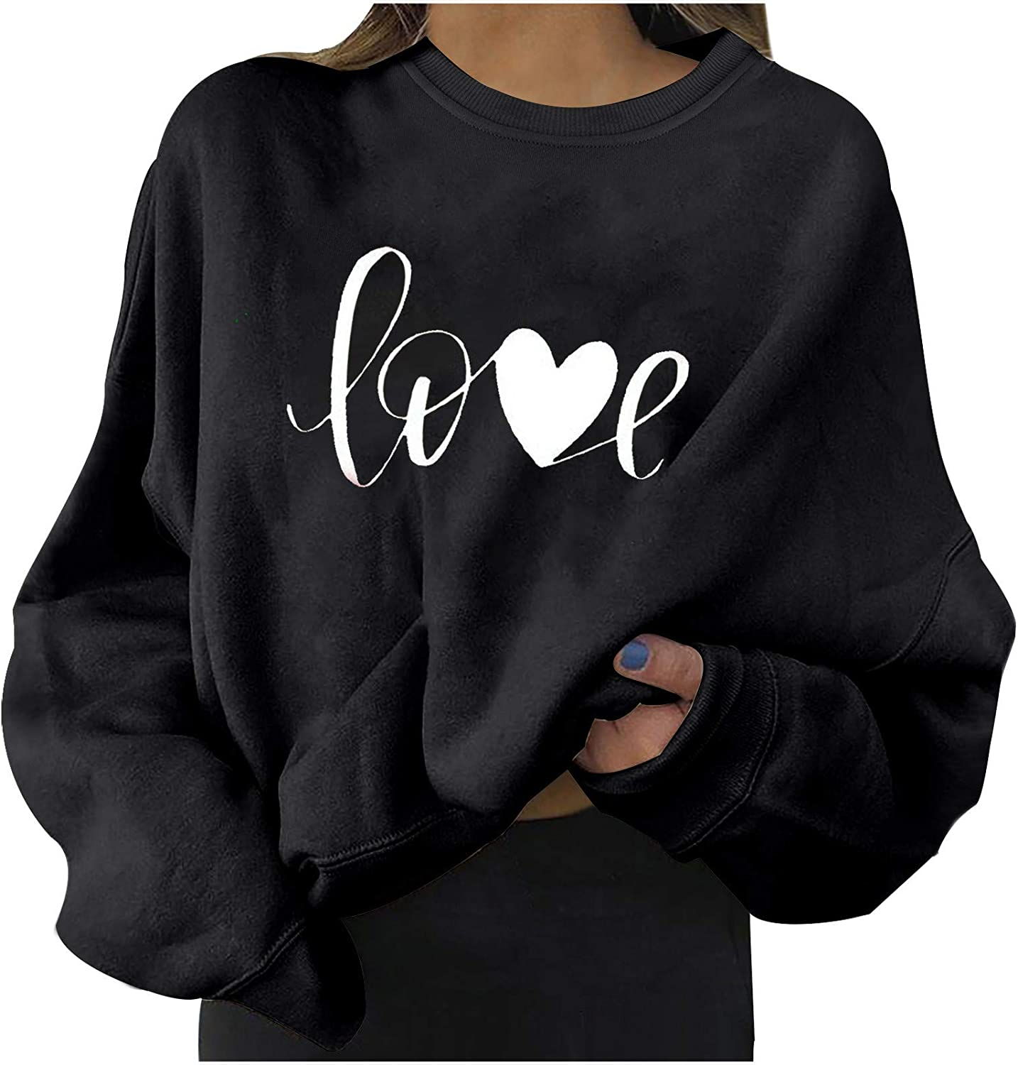 Long Sleeve Sweatershirt for New product!! Women High material Love Round Tunics Printed Nec