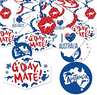 Big Dot of Happiness Australia Day - G'Day Mate Aussie Party Hanging Decor - Party Decoration Swirls - Set of 40