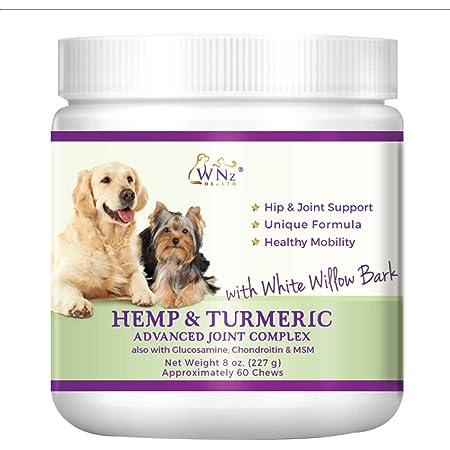 Hemp & Turmeric Chews for Dogs - Hip & Joint Supplement - Glucosamine Chondroitin MSM – Hemp Oil for Dogs Pain Relief & Arthritis – Anti-inflammatory Hemp Dog Treats - Made in USA WetNozeHealth