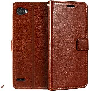 LG Q6 plånboksfodral, premium PU-läder magnetiskt flipfodral med korthållare och ställ för LG Q6 Plus