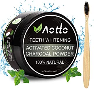 Aotto Activated Charcoal Natural Teeth Whitener Teeth Whitening Charcoal Powder Proven No Hurt on Enamel with Bamboo Brush